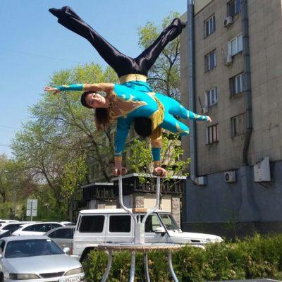 21 апреля 2018 года артисты Казахского государственного цирка выступили на сценической площадке на ул. Панфилова.